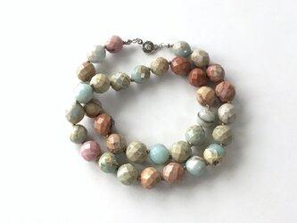 空と土の色のネックレス No.1【受注制作】/1cm玉, インプレッションストーン, 天然石の画像