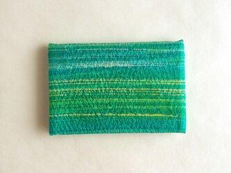 絹手染カード入れ(横・緑系ぼかし)の画像