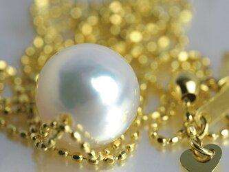 大粒アコヤ真珠スルーペンダント あこやパール K18 日本製ゴールドチェーン 金属アレルギー対応 送料無料の画像