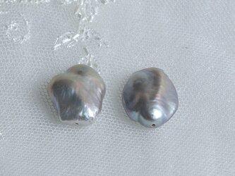 大粒バロックパール2粒15mm シルバー系 No.019-2 真珠 淡水パール 連 レン パーツ 艶 雪 ルース ケシ風の画像