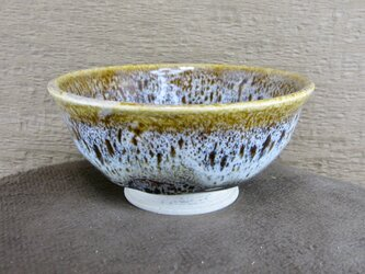 陶器ご飯茶碗(中)朝鮮唐津風 茶・白の画像