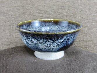 陶器ご飯茶碗(中)朝鮮唐津風 青黒・白の画像