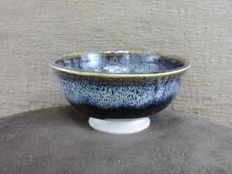 陶器ご飯茶碗(小)朝鮮唐津風 青黒・白の画像