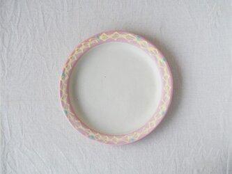 いっちん丸リム皿-ピンク-の画像