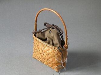 竹籠バッグ かごバッグ(小)網代編み 根曲り竹 煤竹 燻煙千島笹の画像