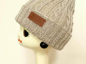 麻(リネン)のニット帽【きなり】の画像
