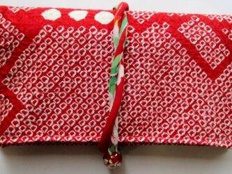 送料無料 絞りの羽織で作った和風財布・ポーチ 3568の画像