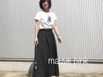 リネンレーヨンのスカート ブラックの画像
