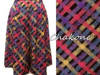 【パンツ】大人の可愛いキュロット・スカート(スカートパンツ/M) カラフルなチェック柄 小紋工房の画像