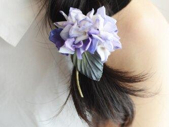 【受注制作】染の草花・紫陽花のコサージュ(S)コーム付きの画像