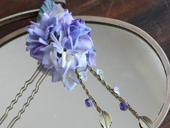 【受注制作】染の草花・紫陽花のカンザシの画像