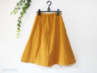 着丈が選べる綿麻ギャザースカート マスタード【受注】の画像