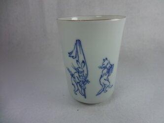 冷酒用カップ・飲み口茶色(鳥獣戯画・兎と狐)の画像