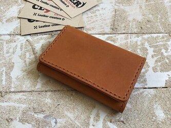革の名刺&カードケース キャメル×キャメル マチ付き大容量タイプの画像