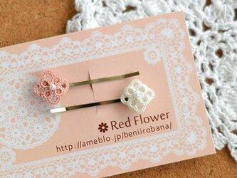 ピンクの小花&ホワイトの小花のヘアピン レース編み タティングレースの画像