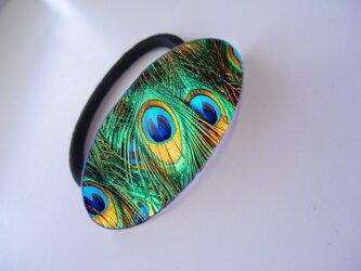 アートヘアゴム(楕円) 孔雀【送料無料】の画像