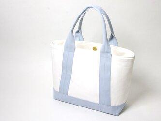 お仕事サイズ・帆布 トートバッグ スカイブルー × ホワイトの画像