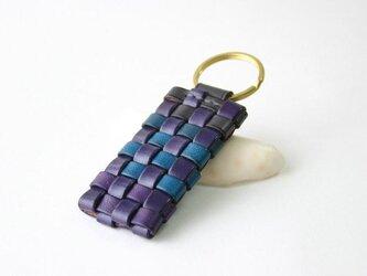 手染め革 風のキーホルダー ダブルリングタイプ 紫の画像
