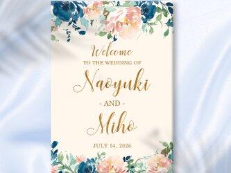 〜blue & peach flower〜 印刷 ウェルカムボードの画像