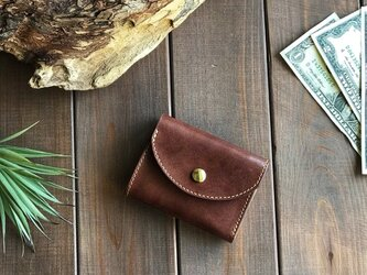 国産レザーを使用した焦茶色の三つ折り財布の画像