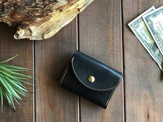 国産レザーを使用した黒色の三つ折り財布の画像