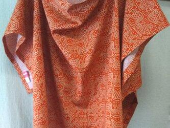 おくるみに使える授乳ケープ 線描きプリント オレンジ 綿100%の画像