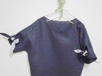 濃紺リネン リボン袖ブラウス Fの画像
