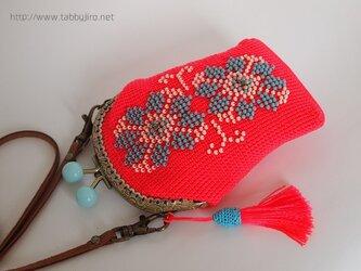 ビーズ編みのがま口ポシェット-ビビッドピンクの画像