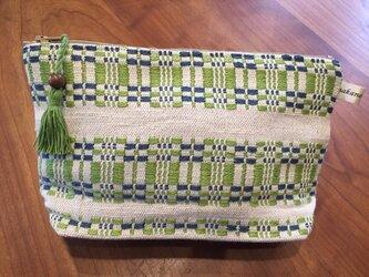 手織りのポーチ グリーンの画像