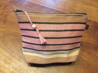 手織りのポーチ ピンクボーダーの画像