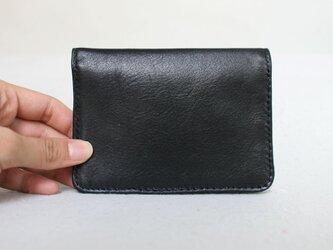 【訳アリ特価】本革 二つ折り カードケース、敬老手帳・定期入れ ブラックの画像