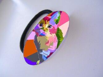 アートヘアゴム(楕円)ネコ【送料無料】の画像