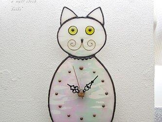 ステンドグラス*掛け&置き時計・猫(パールホワイト)の画像