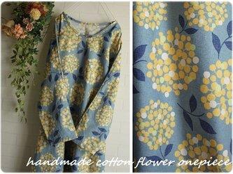 送料無料sale  身幅57 紫陽花 ブルー×イエロー ドルマン ロングワンピースき ポケット付きの画像
