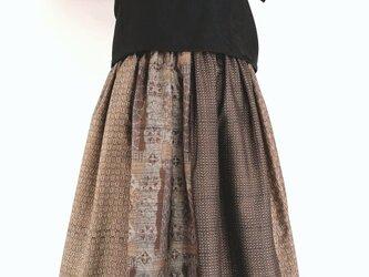泥大島紬パッチワーク:ギャザースカートの画像