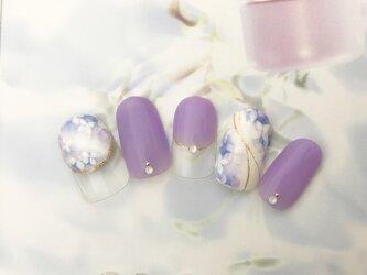 ネイルチップ 紫陽花の画像