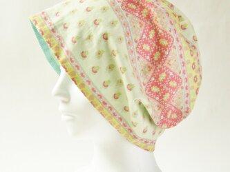夏に涼しく下地にもなる ゆったりガーゼ帽子 プロヴァンス風花柄クリームピンク 薄緑ストライプ(CGR-009-PVG)の画像