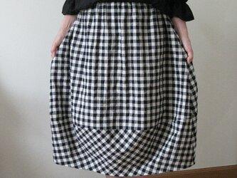 ギンガムチェックのバルーンスカート~ブラック^の画像
