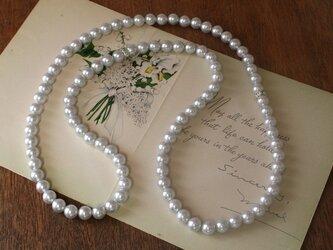 卒業式/入学式*ビジューロング パール ネックレス アイスグレー 卒園式 入園式 ウエディング 結婚式 真珠 披露宴 ブライダルの画像