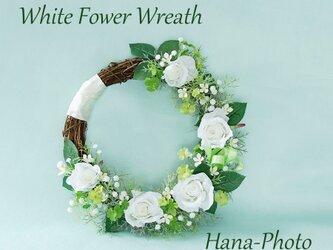 受注製作 白バラと四葉のクローバーの幸せリース リース台:25㎝ (134)の画像