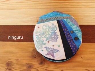ブルーの花&蝶 ハンチング (No.2)の画像