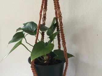 マクラメ編みのプラントハンガー~細長い茶色ののウッドビーズの画像