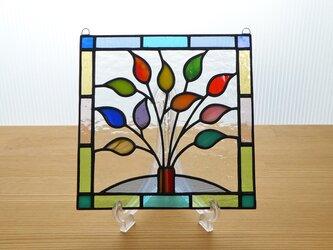ステンドグラス ミニパネル リーフ(f) 15cmの画像