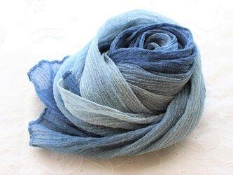 シルクの藍 <蒼の雫>ストールの画像