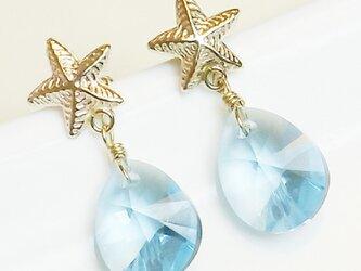 送料無料 14kgf Swarovski starfish earrings (Blue)  スワロフスキー 涙 しずく ピアスの画像