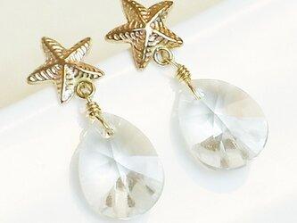 送料無料 14kgf Swarovski starfish earrings(Silver) スワロフスキー 涙 しずく ピアスの画像
