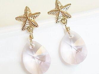 送料無料 14kgf Swarovski starfish earrings (Pink)スワロフスキー 涙 しずく ピアスの画像