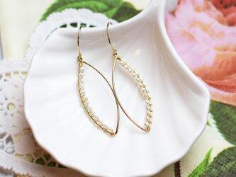 送料無料☆14kgf Marquis Hook Earrings(Freshwater pearl) 淡水パール フック ピアスの画像
