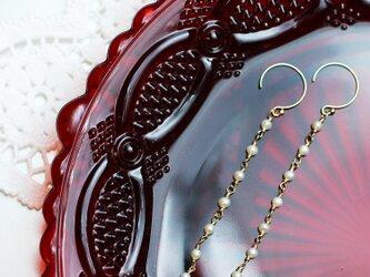 送料無料☆14kgf Chain hook Earrings(Freshwater pearl) 淡水パール フック ピアスの画像