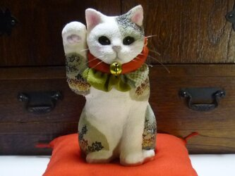 江戸縮緬の招き猫 アンティークの画像